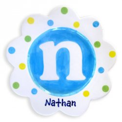Personalized Hand-Painted Ceramic Scalloped Children's Plate