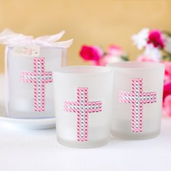 Cross Rhinestones Candle Favor