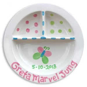 Personalized Hand-Painted Divided Toddler Plate