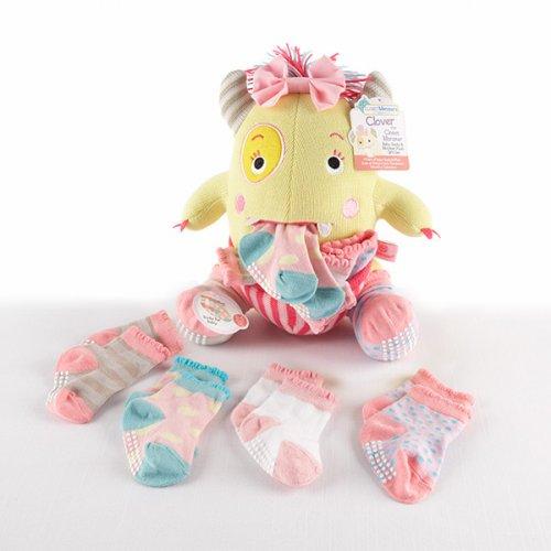 Plush Monster with Socks Gift Set Pink