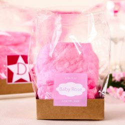 Cotton Candy Baby Shower Favor with Personalized Label