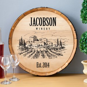 Personalized Wooden Wine Barrel Sign