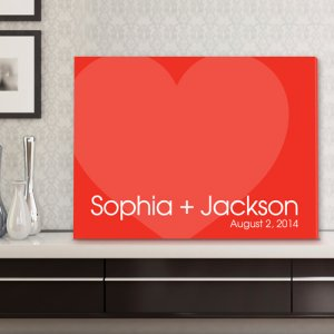 Personalized Signature Hearts Canvas