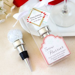 Snow Flurries Snowglobe Bottle Stopper with Personalized Tag