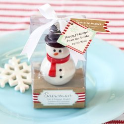 Snowman Salt and Pepper Shaker with Personalized Tag