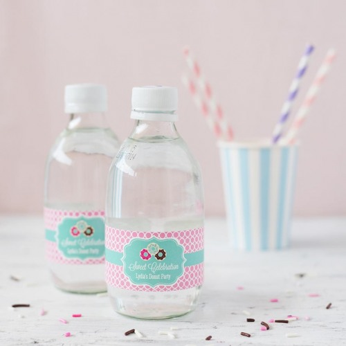 personalized donut birthday water bottle labels