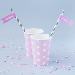 Personalized Baby Shower Themed Flag Labels with Straws