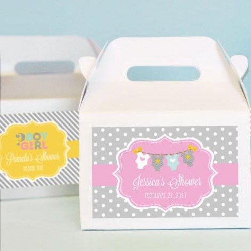 Personalized Baby Shower Mini Gable Favor Boxes
