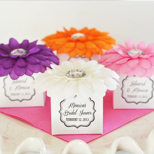 Personalized Bridal Rhinestone Flower Favors Boxes