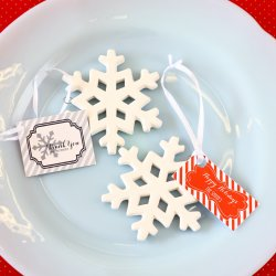 Porcelain Snowflake Ornament with Personalized Tag