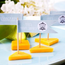 Personalized Bridal Themed Flag Labels with Straws