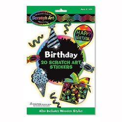 Scratch Art Birthday Stickers