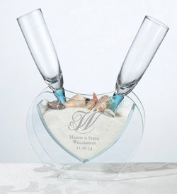 Personalized Heart Vase with Toasting Glasses