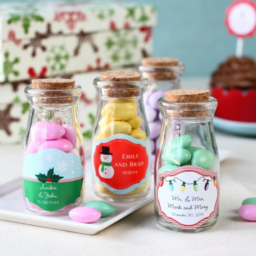 Small Office Christmas Party Ideas: Personalized Holiday Vintage Milk Jars, Holiday Jar Favors