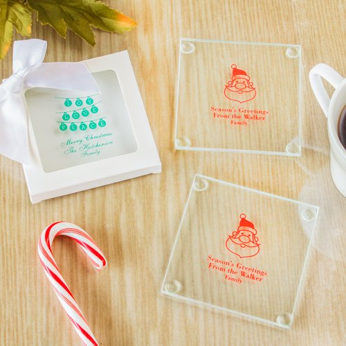 Personalized Exclusive Holiday Glass Coasters