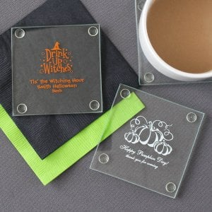 Personalized Holiday Glass Coaster