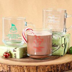 Personalized 10 oz. Holiday Glass Mug with Handle