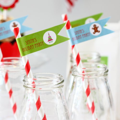 Personalized Holiday Themed Flag Labels with Straws