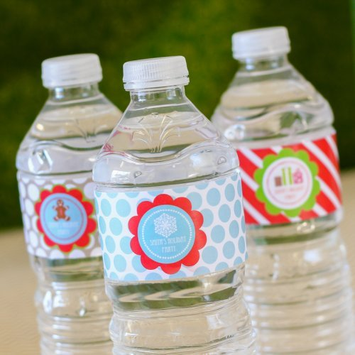 Personalized Holiday Themed Water Bottle Labels