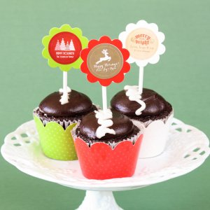 Personalized Holiday Cupcake Wrappers and Toppers
