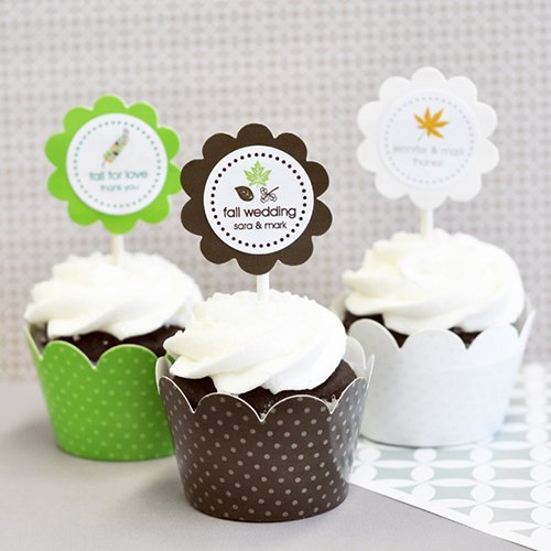 Personalized Fall Cupcake Wrappers and Toppers