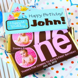 Personalized 1st Birthday Hershey's Chocolate Bars