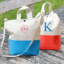 Personalized Color Dipped Tote Bag