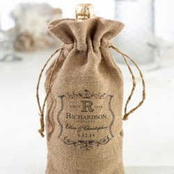 Personalized Burlap Wine Bag