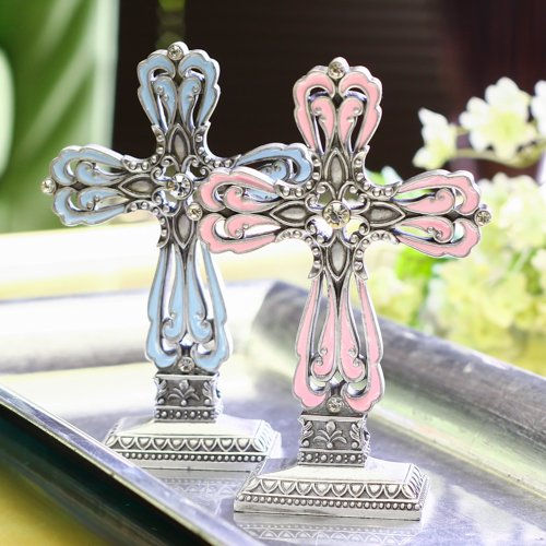 Decorative Colored Cross Pewter Cross Statue