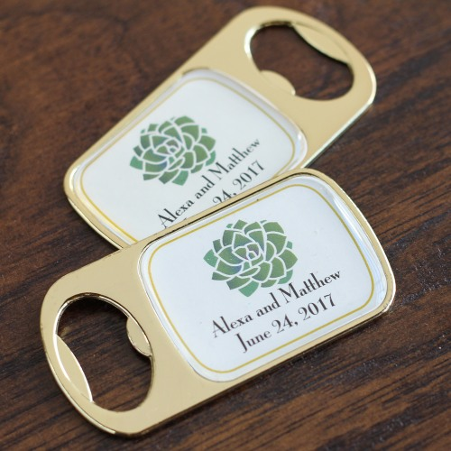 Personalized Succulent Bottle Opener