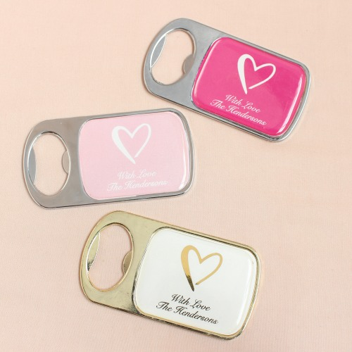 Personalized Heart Bottle Opener with Epoxy Dome
