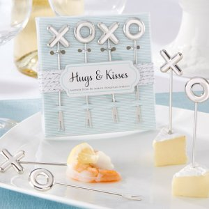 """Hugs & Kisses"" Stainless-Steel Appetizer Picks"