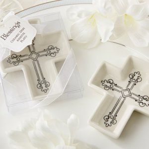 Decorative Ceramic Cross Trinket Dish