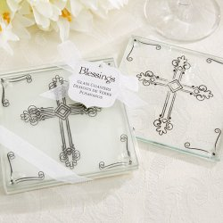 Decorative Cross Glass Coasters