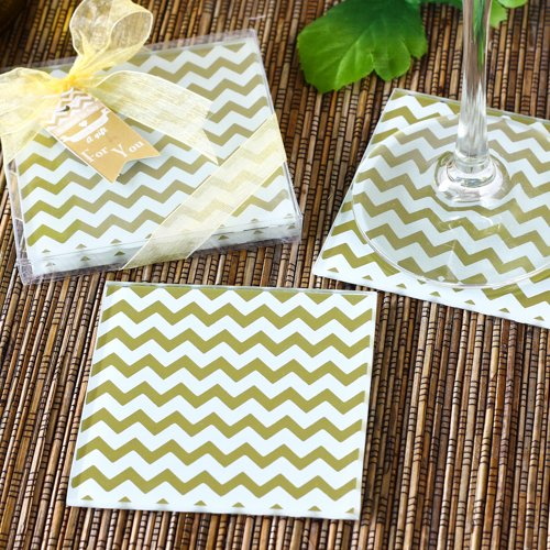 Gold Chevron Coasters