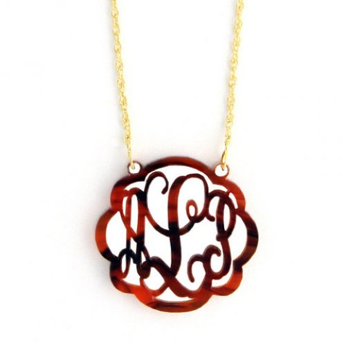Acrylic Flourish Monogram Necklace