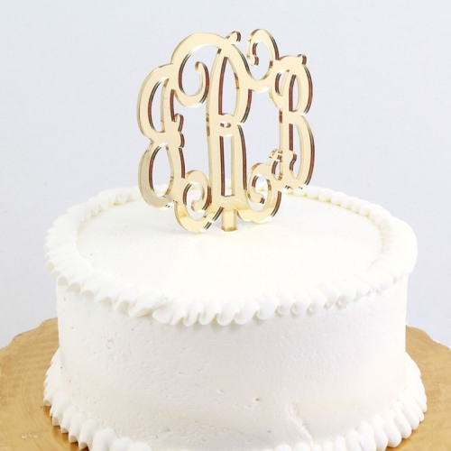Mirrored Gold Acrylic Monogram Cake Topper