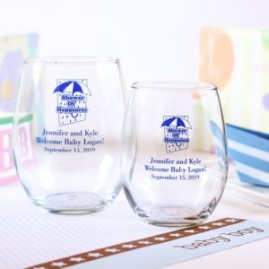 Personalized Baby Shower Stemless Wine Glasses