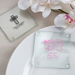 Personalized Baby Shower Glass Coaster