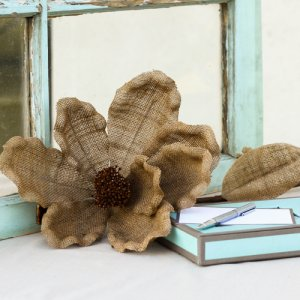 Decorative Stemmed Jute Flower