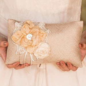 Chic Burlap Ring Pillow