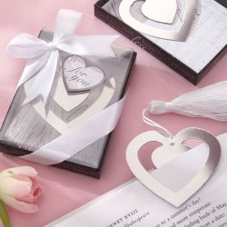 Silver Heart Bookmark Favor