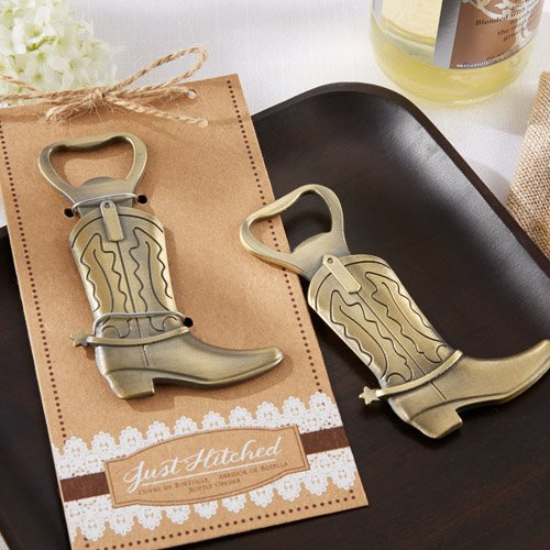 "Just Hitched"" Cowboy Boot Bottle Opener"