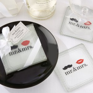 """Mr. & Mrs."" Glass Coasters"
