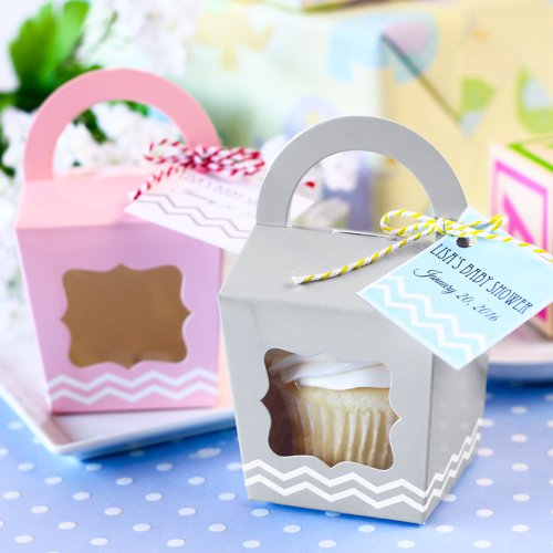 Cupcake Tote with Personalized Baby Shower Tag