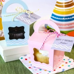 Cupcake Tote with Personalized Birthday Tag