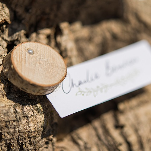 Mini Birch Wood Slice with Place Card