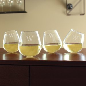 Monogramed Tipsy Wine Glasses