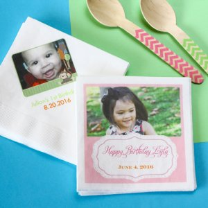 Personalized Photo Birthday Napkins