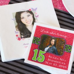 Personalized Photo Quinceanera Napkins